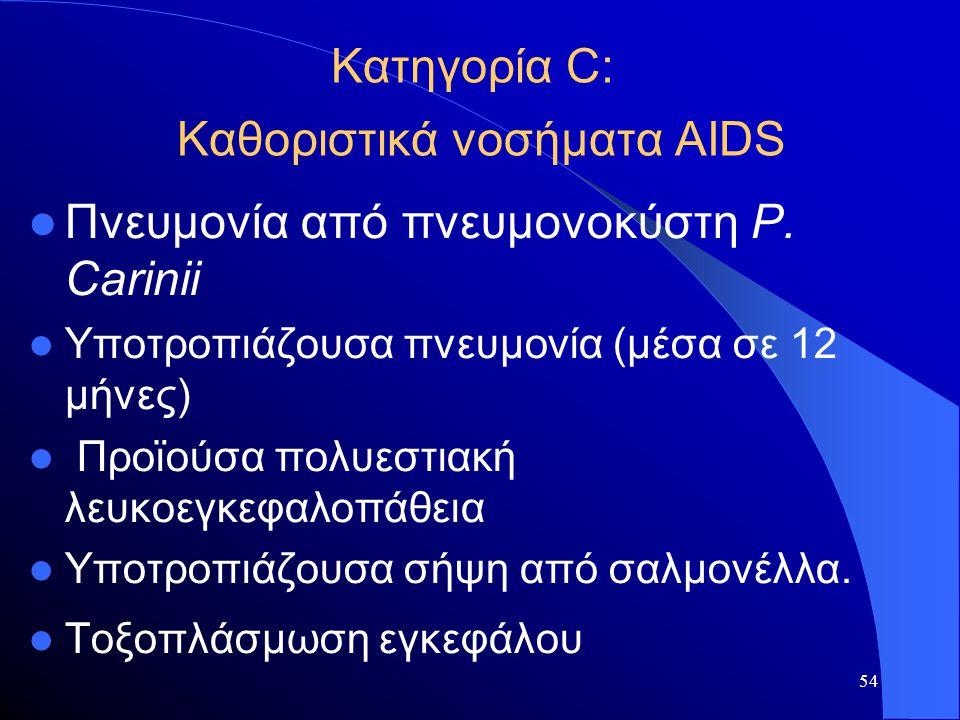 54 Κατηγορία C: Καθοριστικά νοσήματα AIDS  Πνευμονία από πνευμονοκύστη P. Carinii  Υποτροπιάζουσα πνευμονία (μέσα σε 12 μήνες)  Προϊούσα πολυεστιακ