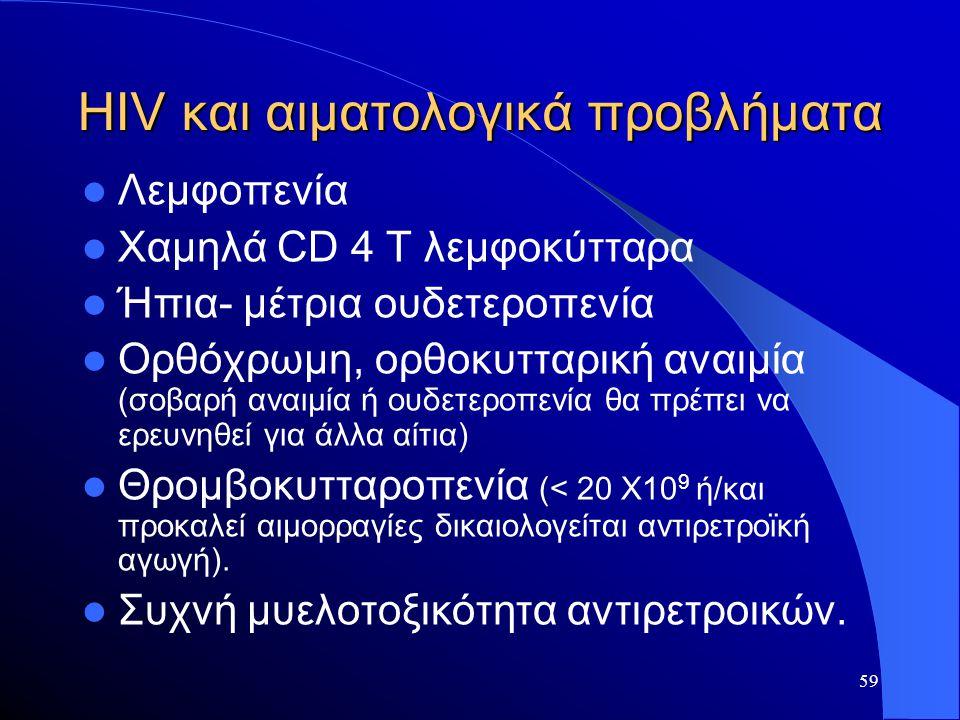 59 HIV και αιματολογικά προβλήματα  Λεμφοπενία  Χαμηλά CD 4 T λεμφοκύτταρα  Ήπια- μέτρια ουδετεροπενία  Ορθόχρωμη, ορθοκυτταρική αναιμία (σοβαρή α