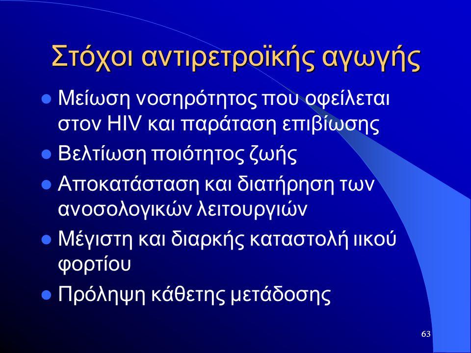 63 Στόχοι αντιρετροϊκής αγωγής  Μείωση νοσηρότητος που οφείλεται στον HIV και παράταση επιβίωσης  Βελτίωση ποιότητος ζωής  Αποκατάσταση και διατήρη