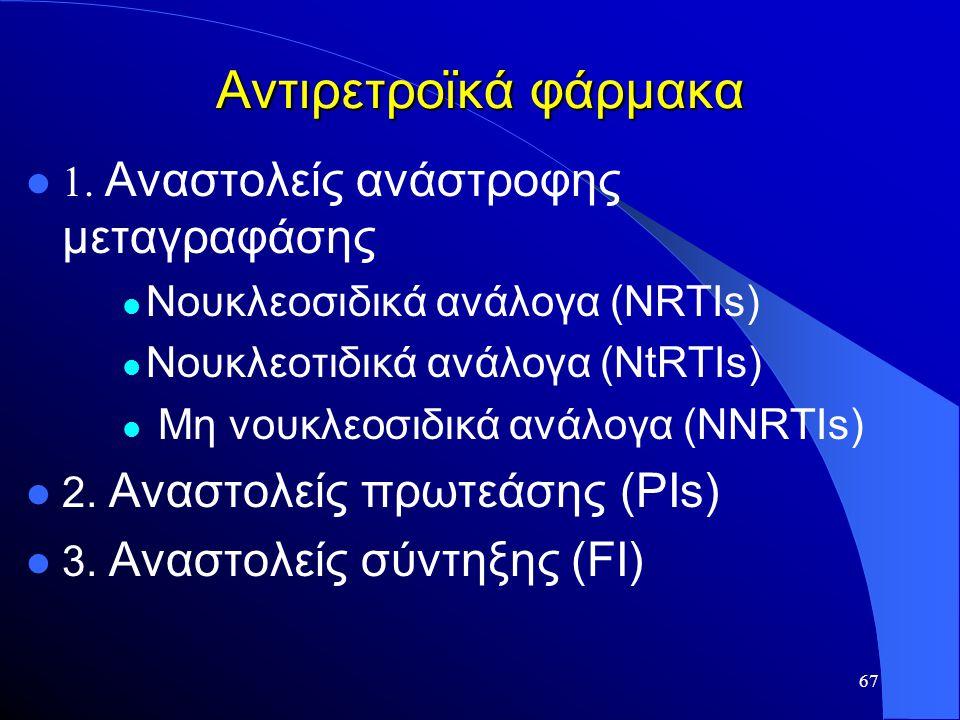 67 Αντιρετροϊκά φάρμακα  1. Αναστολείς ανάστροφης μεταγραφάσης  Νουκλεοσιδικά ανάλογα (NRTIs)  Νουκλεοτιδικά ανάλογα (NtRTIs)  Mη νουκλεοσιδικά αν