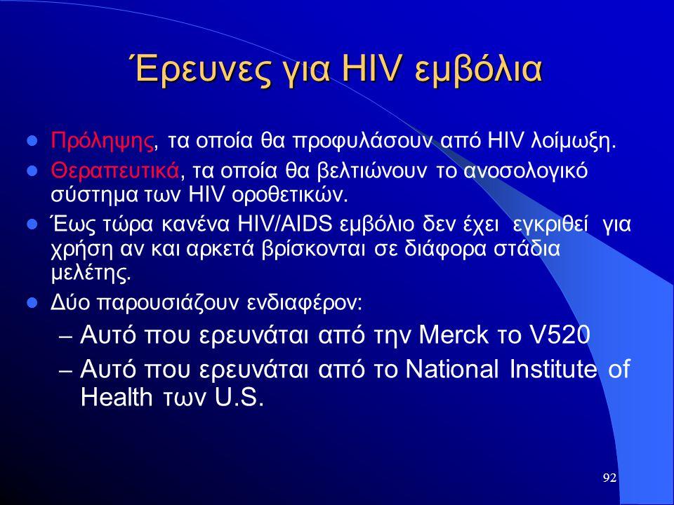 92 Έρευνες για HIV εμβόλια  Πρόληψης, τα οποία θα προφυλάσουν από HIV λοίμωξη.  Θεραπευτικά, τα οποία θα βελτιώνουν το ανοσολογικό σύστημα των HIV ο