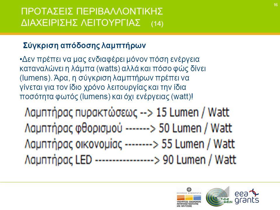 16 ΠΡΟΤΑΣΕΙΣ ΠΕΡΙΒΑΛΛΟΝΤΙΚΗΣ ΔΙΑΧΕΙΡΙΣΗΣ ΛΕΙΤΟΥΡΓΙΑΣ (14) Σύγκριση απόδοσης λαμπτήρων •Δεν πρέπει να μας ενδιαφέρει μόνον πόση ενέργεια καταναλώνει η