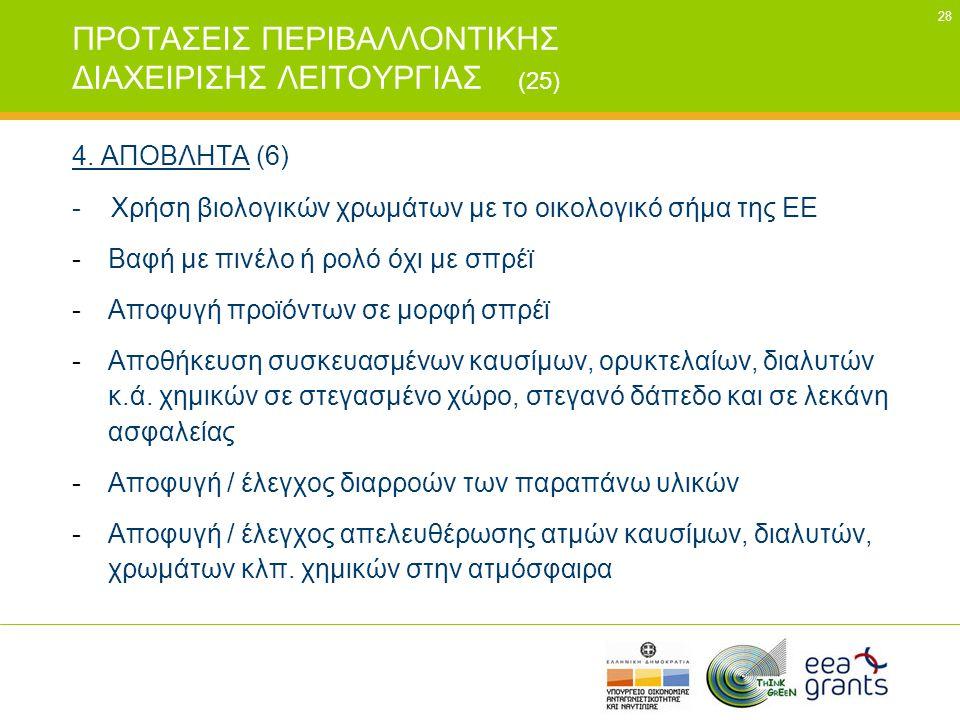 28 ΠΡΟΤΑΣΕΙΣ ΠΕΡΙΒΑΛΛΟΝΤΙΚΗΣ ΔΙΑΧΕΙΡΙΣΗΣ ΛΕΙΤΟΥΡΓΙΑΣ (25) 4. ΑΠΟΒΛΗΤΑ (6) - Χρήση βιολογικών χρωμάτων με το οικολογικό σήμα της ΕΕ -Βαφή με πινέλο ή ρ