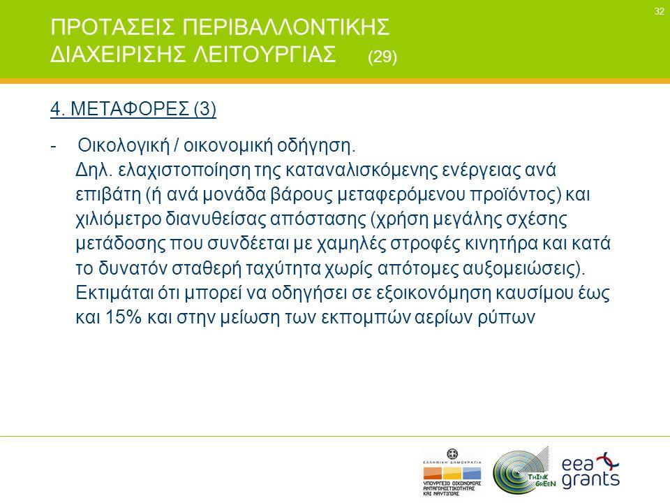 32 ΠΡΟΤΑΣΕΙΣ ΠΕΡΙΒΑΛΛΟΝΤΙΚΗΣ ΔΙΑΧΕΙΡΙΣΗΣ ΛΕΙΤΟΥΡΓΙΑΣ (29) 4. ΜΕΤΑΦΟΡΕΣ (3) - Οικολογική / οικονομική οδήγηση. Δηλ. ελαχιστοποίηση της καταναλισκόμενης
