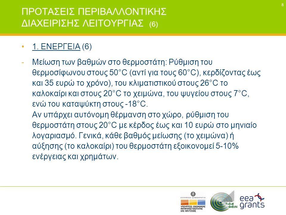 8 ΠΡΟΤΑΣΕΙΣ ΠΕΡΙΒΑΛΛΟΝΤΙΚΗΣ ΔΙΑΧΕΙΡΙΣΗΣ ΛΕΙΤΟΥΡΓΙΑΣ (6) •1. ΕΝΕΡΓΕΙΑ (6) -Μείωση των βαθμών στο θερμοστάτη: Ρύθμιση του θερμοσίφωνου στους 50°C (αντί