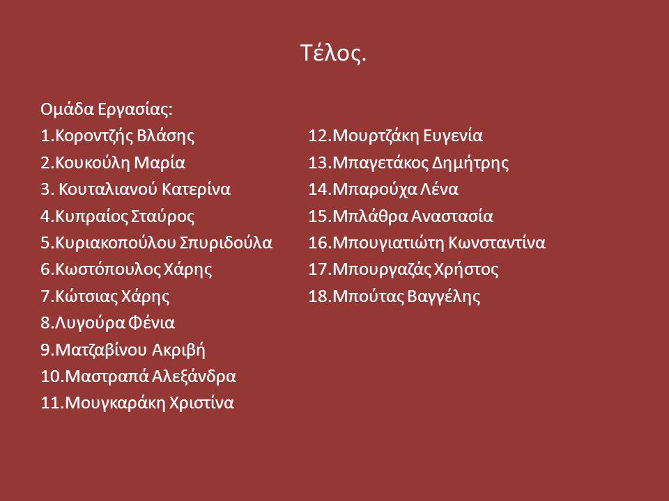 Τέλος. Ομάδα Εργασίας: 1.Κοροντζής Βλάσης12.Μουρτζάκη Ευγενία 2.Κουκούλη Μαρία13.Μπαγετάκος Δημήτρης 3. Κουταλιανού Κατερίνα14.Μπαρούχα Λένα 4.Κυπραίο