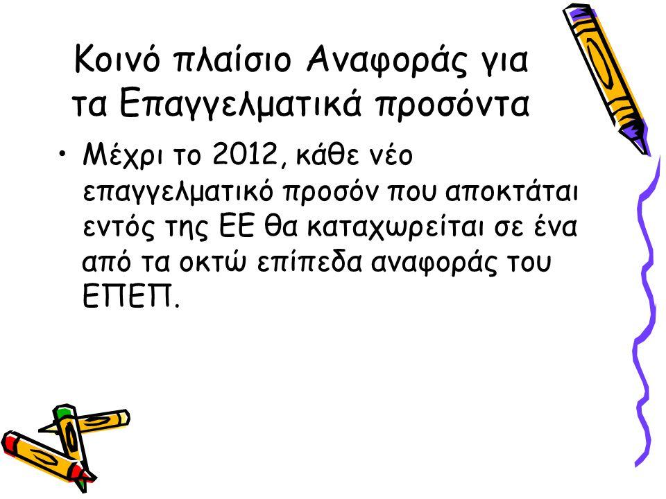 Κοινό πλαίσιο Αναφοράς για τα Επαγγελματικά προσόντα •Μέχρι το 2012, κάθε νέο επαγγελματικό προσόν που αποκτάται εντός της ΕΕ θα καταχωρείται σε ένα α