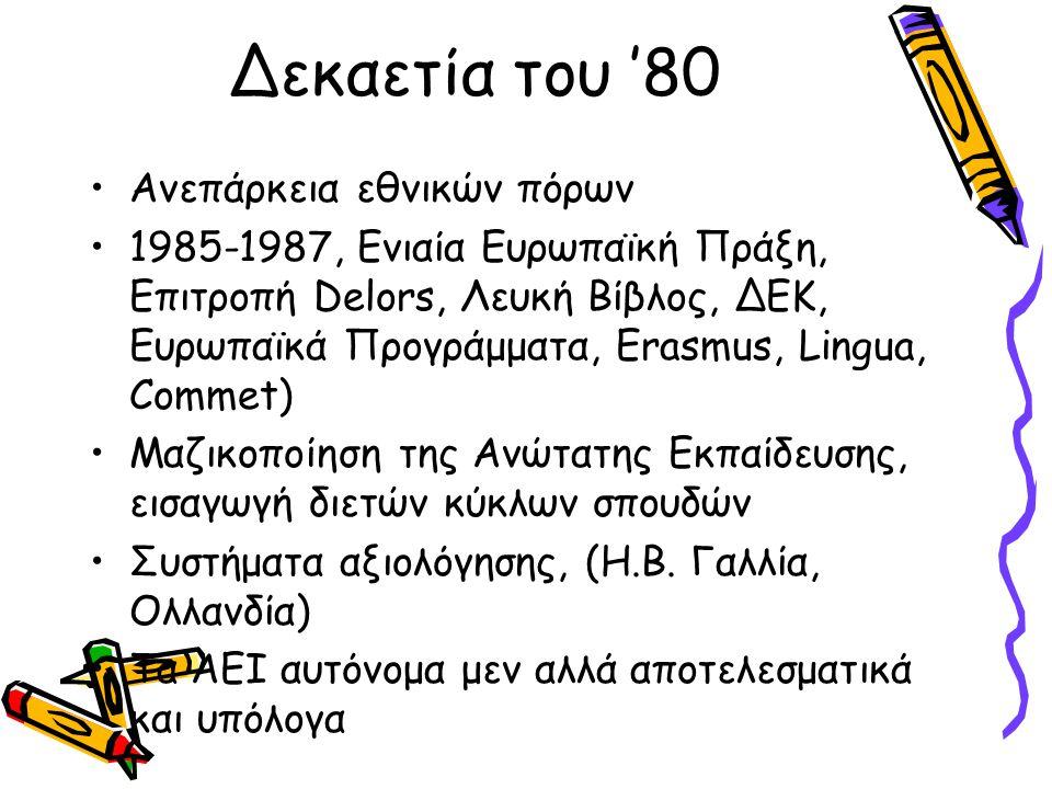 Δεκαετία του '80 •Ανεπάρκεια εθνικών πόρων •1985-1987, Ενιαία Ευρωπαϊκή Πράξη, Επιτροπή Delors, Λευκή Βίβλος, ΔΕΚ, Ευρωπαϊκά Προγράμματα, Erasmus, Lin