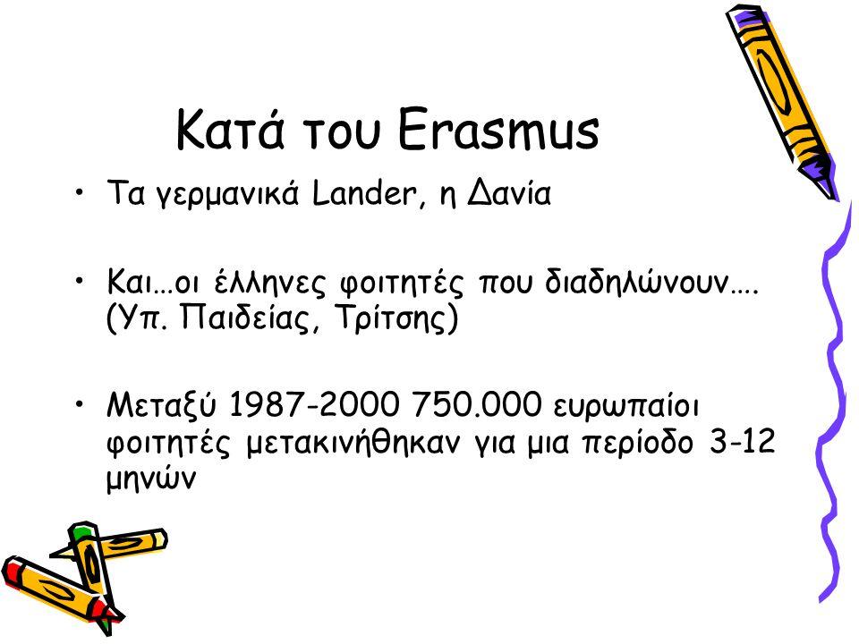 Κατά του Erasmus •Τα γερμανικά Lander, η Δανία •Και…οι έλληνες φοιτητές που διαδηλώνουν…. (Υπ. Παιδείας, Τρίτσης) •Μεταξύ 1987-2000 750.000 ευρωπαίοι