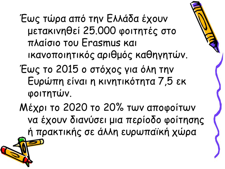 Έως τώρα από την Ελλάδα έχουν μετακινηθεί 25.000 φοιτητές στο πλαίσιο του Erasmus και ικανοποιητικός αριθμός καθηγητών. Έως το 2015 ο στόχος για όλη τ
