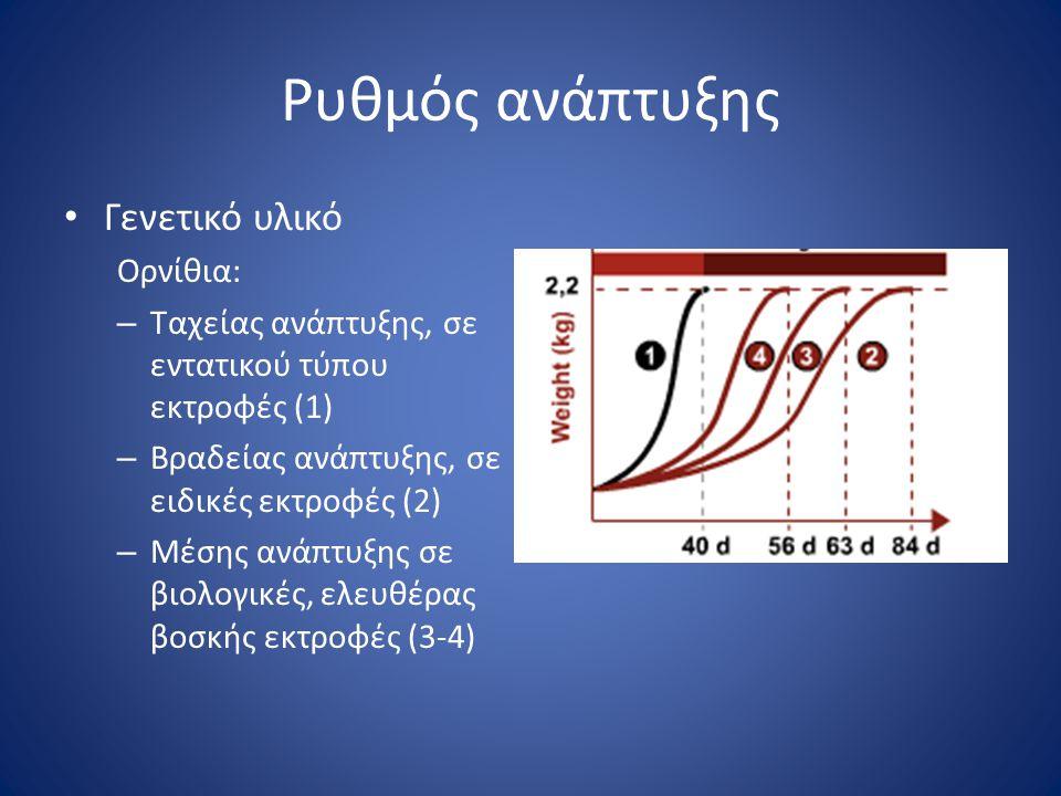 Ρυθμός ανάπτυξης • Γενετικό υλικό Ορνίθια: – Ταχείας ανάπτυξης, σε εντατικού τύπου εκτροφές (1) – Βραδείας ανάπτυξης, σε ειδικές εκτροφές (2) – Μέσης