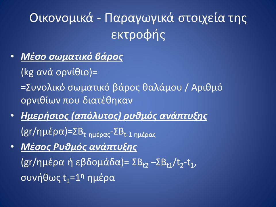 Οικονομικά - Παραγωγικά στοιχεία της εκτροφής • Μέσο σωματικό βάρος (kg ανά ορνίθιο)= =Συνολικό σωματικό βάρος θαλάμου / Αριθμό ορνιθίων που διατέθηκα