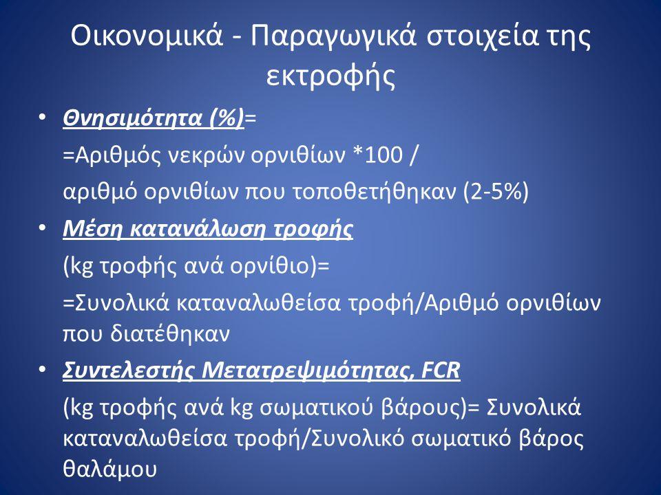 Οικονομικά - Παραγωγικά στοιχεία της εκτροφής • Θνησιμότητα (%)= =Αριθμός νεκρών ορνιθίων *100 / αριθμό ορνιθίων που τοποθετήθηκαν (2-5%) • Μέση καταν