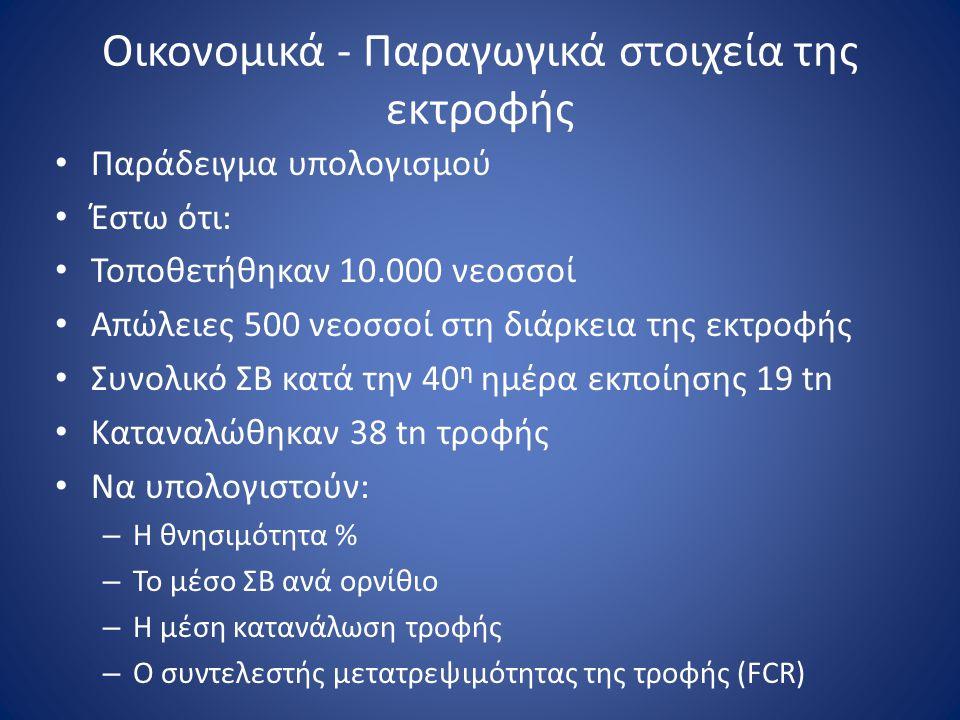Οικονομικά - Παραγωγικά στοιχεία της εκτροφής • Παράδειγμα υπολογισμού • Έστω ότι: • Τοποθετήθηκαν 10.000 νεοσσοί • Απώλειες 500 νεοσσοί στη διάρκεια