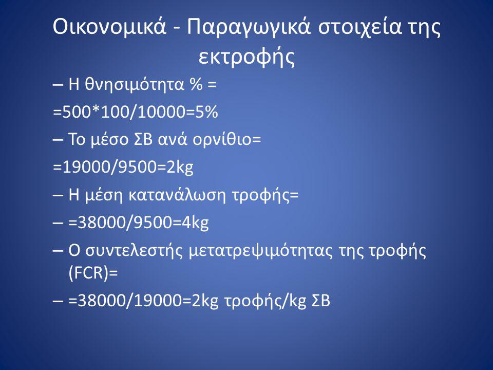 Οικονομικά - Παραγωγικά στοιχεία της εκτροφής – Η θνησιμότητα % = =500*100/10000=5% – Το μέσο ΣΒ ανά ορνίθιο= =19000/9500=2kg – Η μέση κατανάλωση τροφ