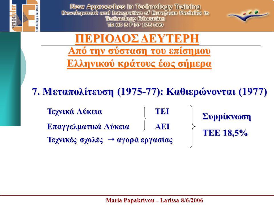 Maria Papakrivou – Larissa 8/6/2006 ΠΕΡΙΟΔΟΣ ΔΕΥΤΕΡΗ Από την σύσταση του επίσημου Ελληνικού κράτους έως σήμερα 7. Μεταπολίτευση (1975-77): Καθιερώνοντ
