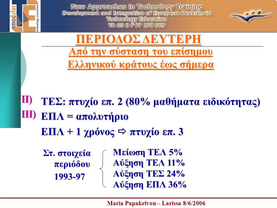 Maria Papakrivou – Larissa 8/6/2006 ΠΕΡΙΟΔΟΣ ΔΕΥΤΕΡΗ Από την σύσταση του επίσημου Ελληνικού κράτους έως σήμερα ΤΕΣ: πτυχίο επ. 2 (80% μαθήματα ειδικότ