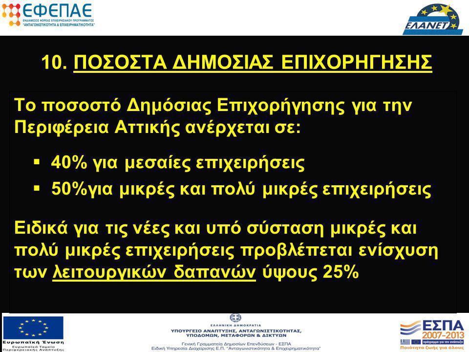 10. ΠΟΣΟΣΤΑ ΔΗΜΟΣΙΑΣ ΕΠΙΧΟΡΗΓΗΣΗΣ Το ποσοστό Δημόσιας Επιχορήγησης για την Περιφέρεια Αττικής ανέρχεται σε:   40% για μεσαίες επιχειρήσεις   50%γι