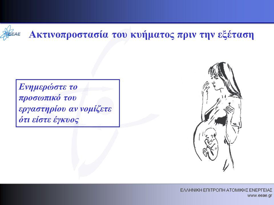 ΕΛΛΗΝΙΚΗ ΕΠΙΤΡΟΠΗ ΑΤΟΜΙΚΗΣ ΕΝΕΡΓΕΙΑΣ www.eeae.gr Ακτινοπροστασία του κυήματος πριν την εξέταση Ενημερώστε το προσωπικό του εργαστηρίου αν νομίζετε ότι είστε έγκυος