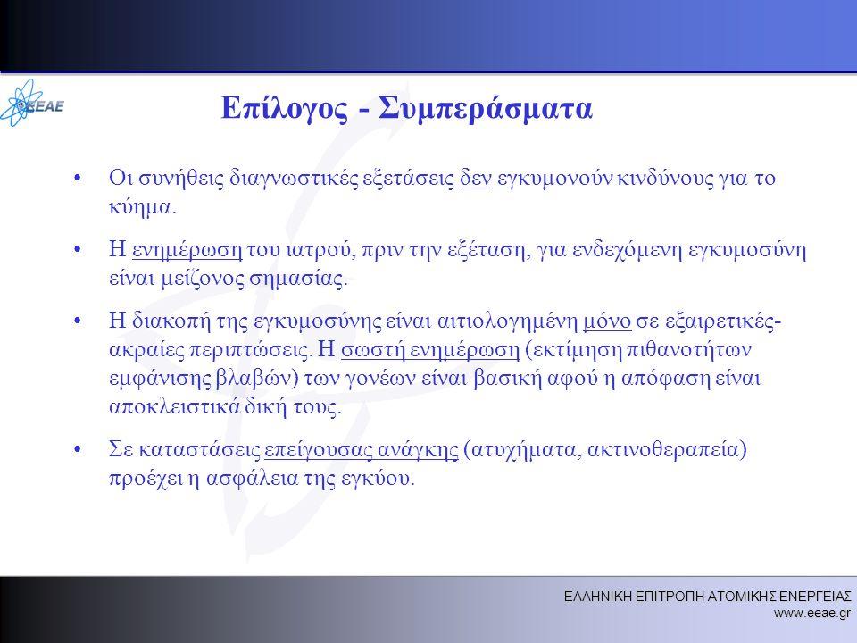 ΕΛΛΗΝΙΚΗ ΕΠΙΤΡΟΠΗ ΑΤΟΜΙΚΗΣ ΕΝΕΡΓΕΙΑΣ www.eeae.gr Επίλογος - Συμπεράσματα •Οι συνήθεις διαγνωστικές εξετάσεις δεν εγκυμονούν κινδύνους για το κύημα.