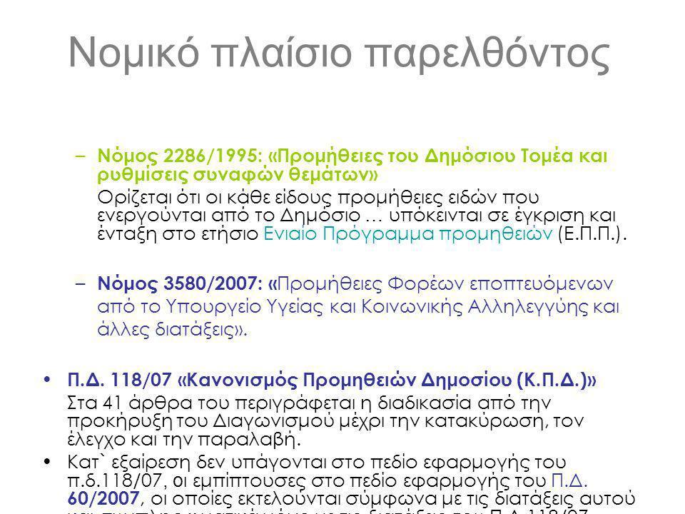 Νομικό πλαίσιο παρελθόντος – Νόμος 2286/1995: «Προμήθειες του Δημόσιου Τομέα και ρυθμίσεις συναφών θεμάτων» Ορίζεται ότι οι κάθε είδους προμήθειες ειδών που ενεργούνται από το Δημόσιο … υπόκεινται σε έγκριση και ένταξη στο ετήσιο Ενιαίο Πρόγραμμα προμηθειών (Ε.Π.Π.).