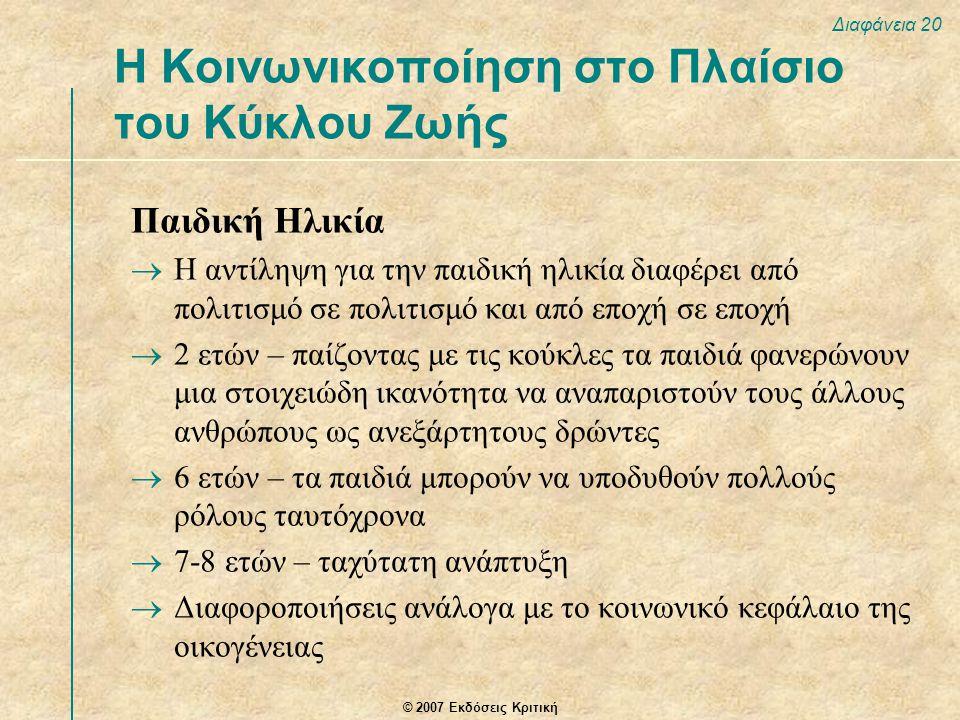 © 2007 Εκδόσεις Κριτική Διαφάνεια 20 Παιδική Ηλικία  Η αντίληψη για την παιδική ηλικία διαφέρει από πολιτισμό σε πολιτισμό και από εποχή σε εποχή  2