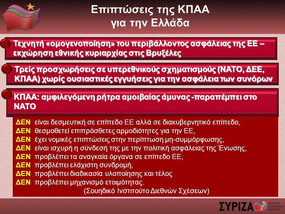 Επιπτώσεις της ΚΠΑΑ για την Ελλάδα Τεχνητή «ομογενοποίηση» του περιβάλλοντος ασφάλειας της ΕΕ – εκχώρηση εθνικής κυριαρχίας στις Βρυξέλες ΚΠΑΑ: αμφιλεγόμενη ρήτρα αμοιβαίας άμυνας -παραπέμπει στο ΝΑΤΟ ΔΕΝ είναι δεσμευτική σε επίπεδο ΕΕ αλλά σε διακυβερνητικό επίπεδο, ΔΕΝ θεσμοθετεί επιπρόσθετες αρμοδιότητες για την ΕΕ, ΔΕΝ έχει νομικές επιπτώσεις στην περίπτωση μη-συμμόρφωσης, ΔΕΝ είναι ισχυρή η σύνδεσή της με την πολιτική ασφάλειας της Ένωσης, ΔΕΝ προβλέπει τα αναγκαία όργανα σε επίπεδο ΕΕ, ΔΕΝ προβλέπει ελάχιστη συνδρομή, ΔΕΝ προβλέπει διαδικασία υλοποίησης και τέλος ΔΕΝ προβλέπει μηχανισμό ετοιμότητας.