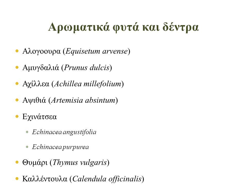  Αλογοουρα (Equisetum arvense)  Αμυγδαλιά (Prunus dulcis)  Αχίλλεα (Achillea millefolium)  Αψιθιά (Artemisia absintum)  Εχινάτσεα  Echinacea angustifolia  Echinacea purpurea  Θυμάρι (Thymus vulgaris)  Καλλέντουλα (Calendula officinalis)  Καστανιά  Aesculus hippocastanum  Castanea species – Chestnut Hybrids Αρωματικά φυτά και δέντρα