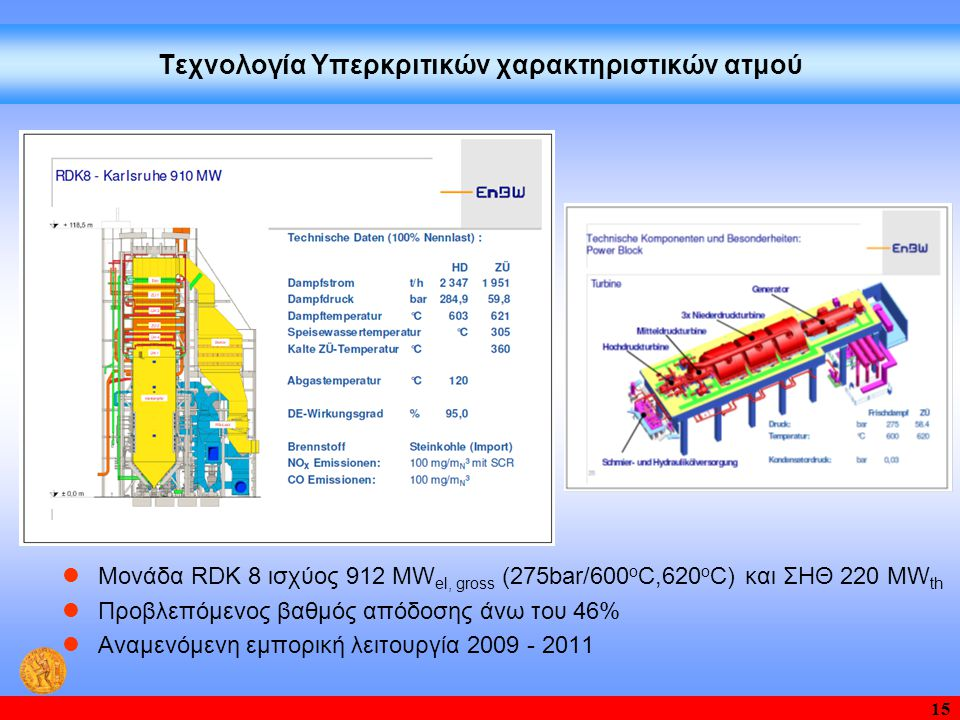 15 Τεχνολογία Υπερκριτικών χαρακτηριστικών ατμού  Μονάδα RDK 8 ισχύος 912 MW el, gross (275bar/600 o C,620 o C) και ΣΗΘ 220 MW th  Προβλεπόμενος βαθ