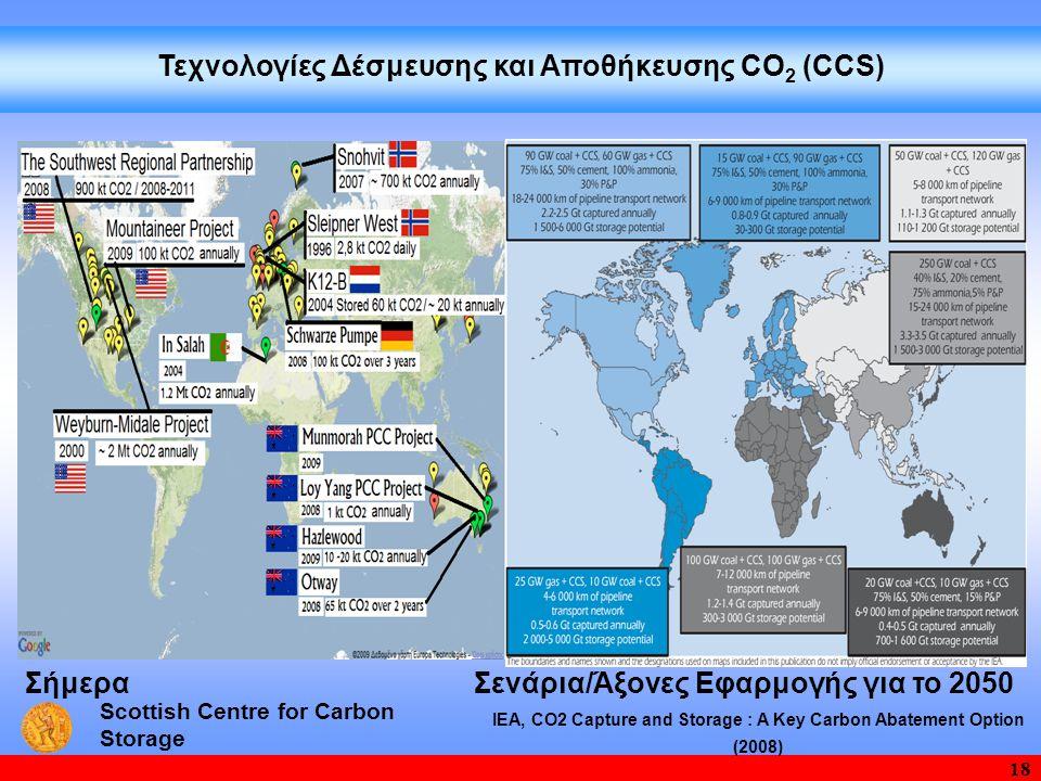 18 ΙΕΑ, CO2 Capture and Storage : A Key Carbon Abatement Option (2008) Σενάρια/Άξονες Εφαρμογής για το 2050 Τεχνολογίες Δέσμευσης και Aποθήκευσης CΟ 2 (CCS) Σήμερα Scottish Centre for Carbon Storage