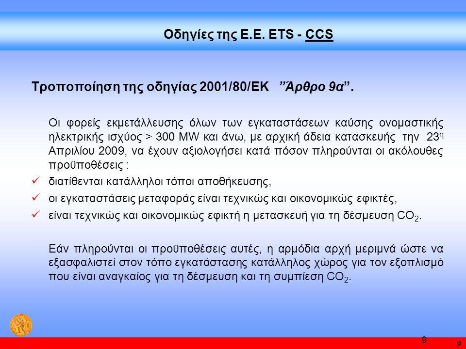 """9 9 Τροποποίηση της οδηγίας 2001/80/ΕΚ """"Άρθρο 9α"""". Oι φορείς εκμετάλλευσης όλων των εγκαταστάσεων καύσης ονομαστικής ηλεκτρικής ισχύος > 300 MW και άν"""