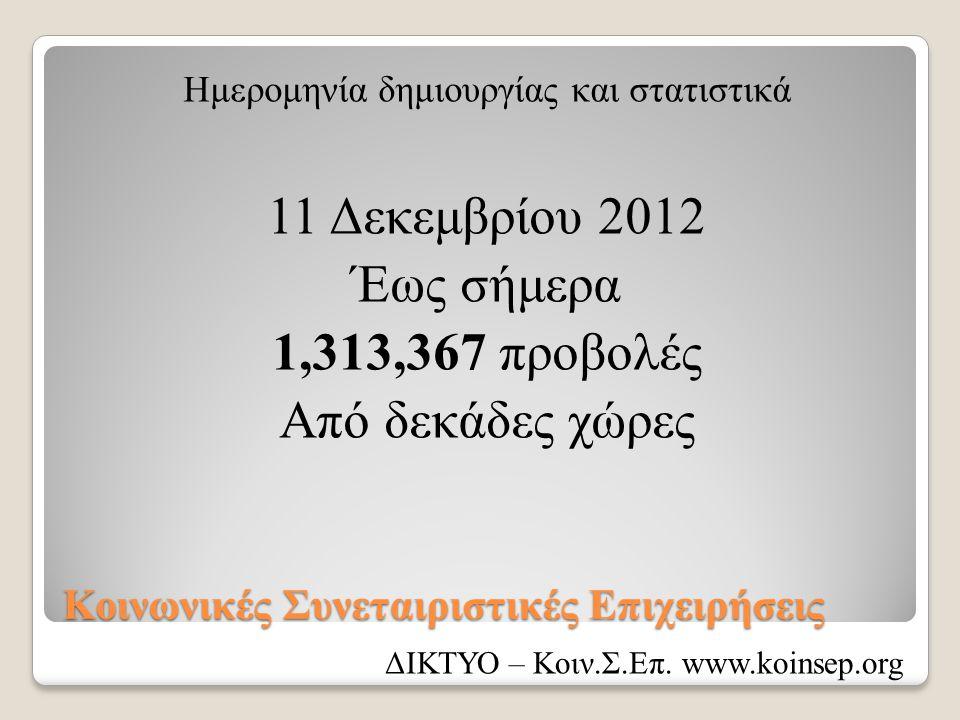 Κοινωνικές Συνεταιριστικές Επιχειρήσεις Ημερομηνία δημιουργίας και στατιστικά 11 Δεκεμβρίου 2012 Έως σήμερα 1,313,367 προβολές Από δεκάδες χώρες ΔΙΚΤΥ