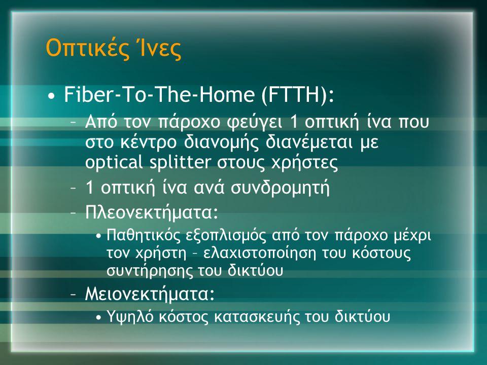 Οπτικές Ίνες •Fiber-To-The-Home (FTTH): –Από τον πάροχο φεύγει 1 οπτική ίνα που στο κέντρο διανομής διανέμεται με optical splitter στους χρήστες –1 οπ