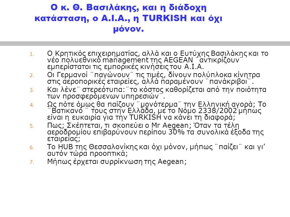 Ο κ.Θ. Βασιλάκης, και η διάδοχη κατάσταση, ο Α.Ι.Α., η TURKISH και όχι μόνον.
