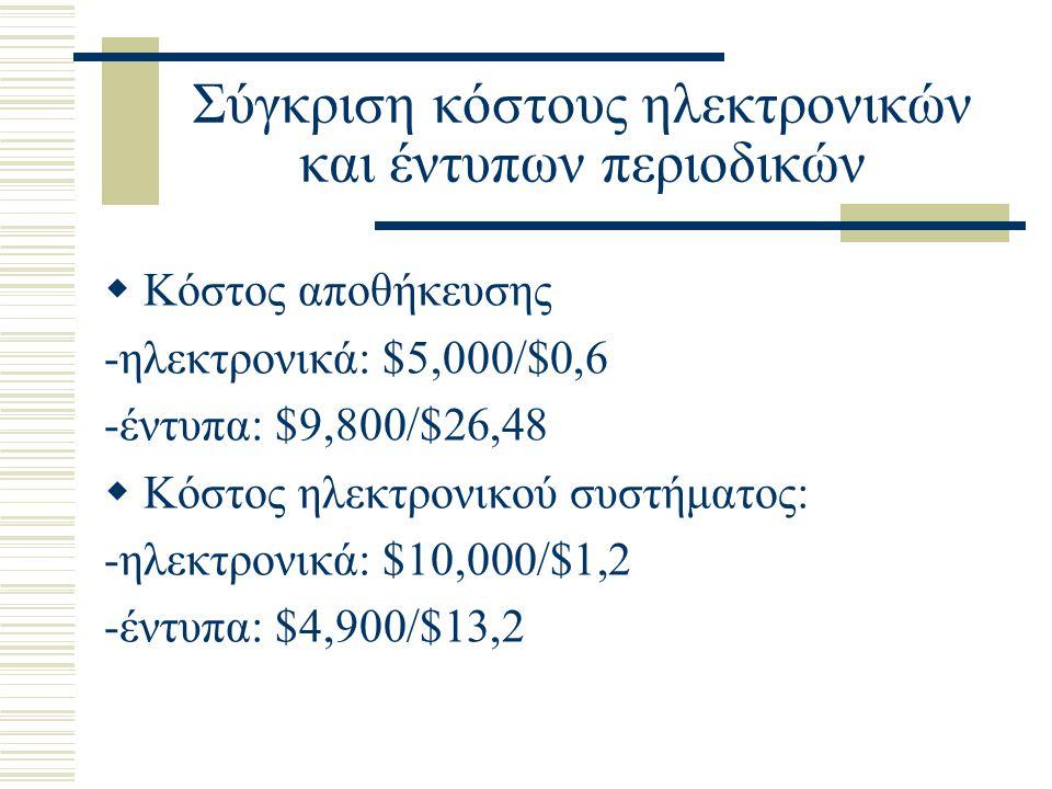 Σύγκριση κόστους ηλεκτρονικών και έντυπων περιοδικών  Κόστος αποθήκευσης -ηλεκτρονικά: $5,000/$0,6 -έντυπα: $9,800/$26,48  Κόστος ηλεκτρονικού συστήματος: -ηλεκτρονικά: $10,000/$1,2 -έντυπα: $4,900/$13,2