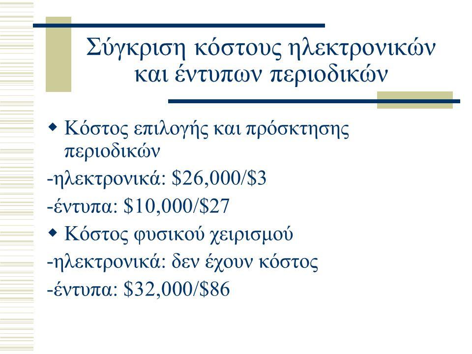 Σύγκριση κόστους ηλεκτρονικών και έντυπων περιοδικών  Κόστος επιλογής και πρόσκτησης περιοδικών -ηλεκτρονικά: $26,000/$3 -έντυπα: $10,000/$27  Κόστος φυσικού χειρισμού -ηλεκτρονικά: δεν έχουν κόστος -έντυπα: $32,000/$86