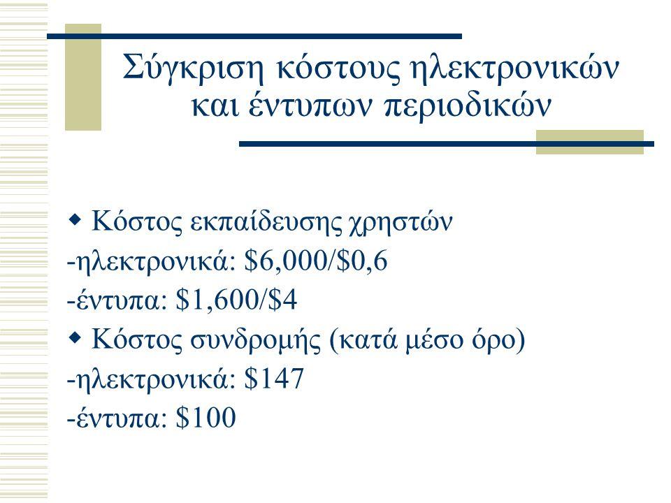Σύγκριση κόστους ηλεκτρονικών και έντυπων περιοδικών  Κόστος εκπαίδευσης χρηστών -ηλεκτρονικά: $6,000/$0,6 -έντυπα: $1,600/$4  Κόστος συνδρομής (κατά μέσο όρο) -ηλεκτρονικά: $147 -έντυπα: $100