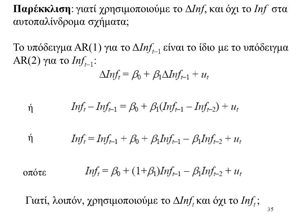 35 Παρέκκλιση: γιατί χρησιμοποιούμε το  Inf, και όχι το Inf στα αυτοπαλίνδρομα σχήματα; Το υπόδειγμα AR(1) για το ΔInf t–1 είναι το ίδιο με το υπόδει