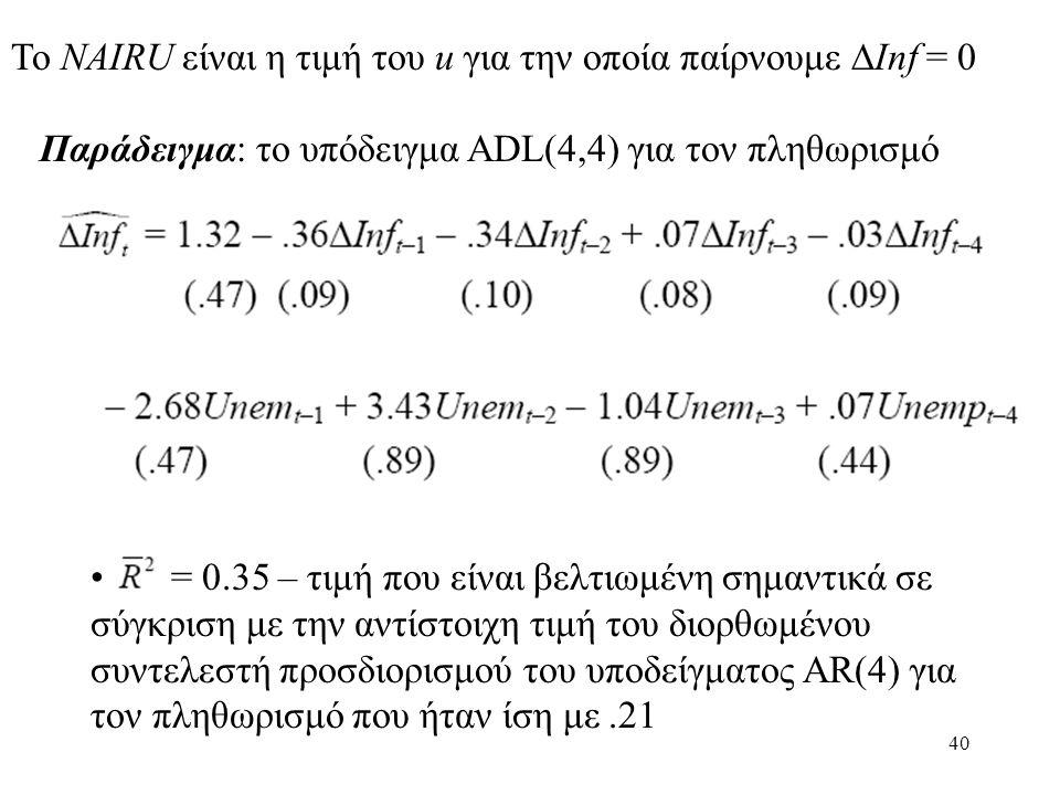 40 Το NAIRU είναι η τιμή του u για την οποία παίρνουμε  Inf = 0 Παράδειγμα: το υπόδειγμα ADL(4,4) για τον πληθωρισμό • = 0.35 – τιμή που είναι βελτιω
