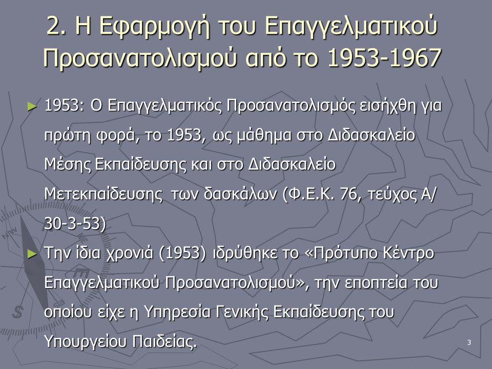 3 2. Η Εφαρμογή του Επαγγελματικού Προσανατολισμού από το 1953-1967 ► 1953: Ο Επαγγελματικός Προσανατολισμός εισήχθη για πρώτη φορά, το 1953, ως μάθημ