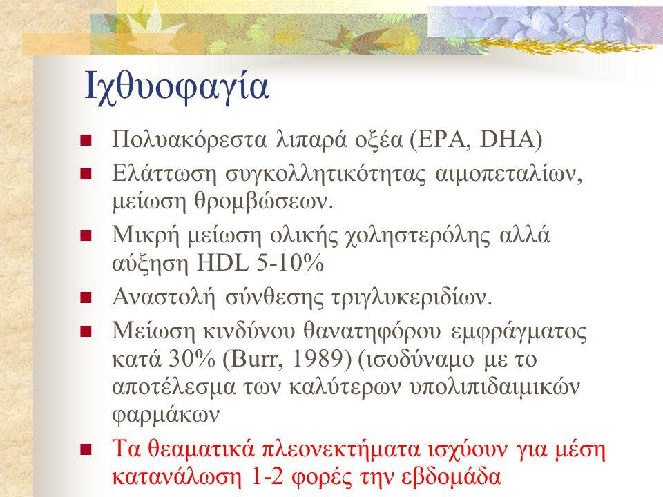 Ιχθυοφαγία  Πολυακόρεστα λιπαρά οξέα (EPA, DHA)  Ελάττωση συγκολλητικότητας αιμοπεταλίων, μείωση θρομβώσεων.