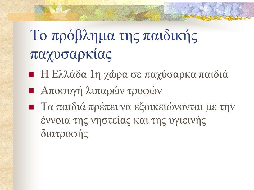 Το πρόβλημα της παιδικής παχυσαρκίας  Η Ελλάδα 1η χώρα σε παχύσαρκα παιδιά  Αποφυγή λιπαρών τροφών  Τα παιδιά πρέπει να εξοικειώνονται με την έννοια της νηστείας και της υγιεινής διατροφής