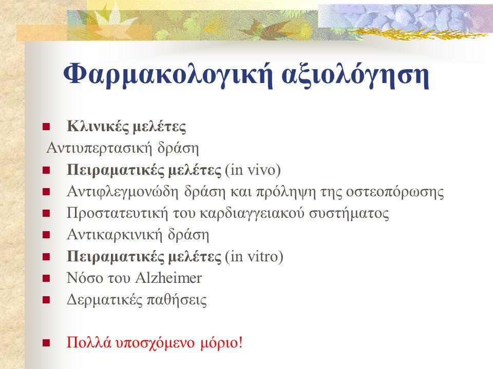 Φαρμακολογική αξιολόγηση  Κλινικές μελέτες Αντιυπερτασική δράση  Πειραματικές μελέτες (in vivo)  Αντιφλεγμονώδη δράση και πρόληψη της οστεοπόρωσης  Προστατευτική του καρδιαγγειακού συστήματος  Αντικαρκινική δράση  Πειραματικές μελέτες (in vitro)  Νόσο του Alzheimer  Δερματικές παθήσεις  Πολλά υποσχόμενο μόριο!