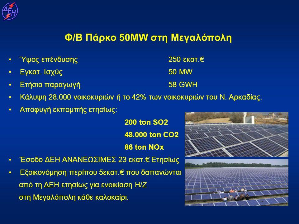 Φ/Β Πάρκο 50MW στη Μεγαλόπολη •Ύψος επένδυσης 250 εκατ.€ •Εγκατ. Ισχύς 50 MW •Ετήσια παραγωγή 58 GWH •Κάλυψη 28.000 νοικοκυριών ή το 42% των νοικοκυρι