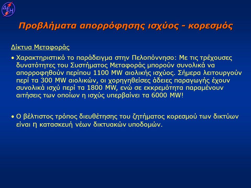 Προβλήματα απορρόφησης ισχύος - κορεσμός Δίκτυα Μεταφοράς • •Χαρακτηριστικό το παράδειγμα στην Πελοπόννησο: Με τις τρέχουσες δυνατότητες του Συστήματο