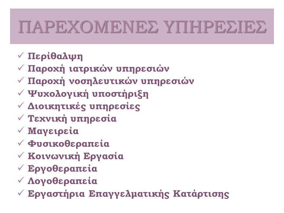 ΕΡΓΑΣΤΗΡΙΑ  Ραπτική - κεντητική, σίτισης, μικροτεχνίες και Η/Υ (άτομα από το Θεραπευτήριο και άτομα που κατοικούν στην ευρύτερη περιοχή του Αγίου Νικολάου)  Εκπαίδευση  Εκδηλώσεις (διοργάνωση εκθέσεων με τα παραγόμενα προϊόντα των εργαστηρίων)  Ψυχαγωγία (εκπαιδευτικές εκδρομές, έξοδοι για καφέ)  Προστατευμένο κυλικείο με στελέχωση από Α.μεΑ.
