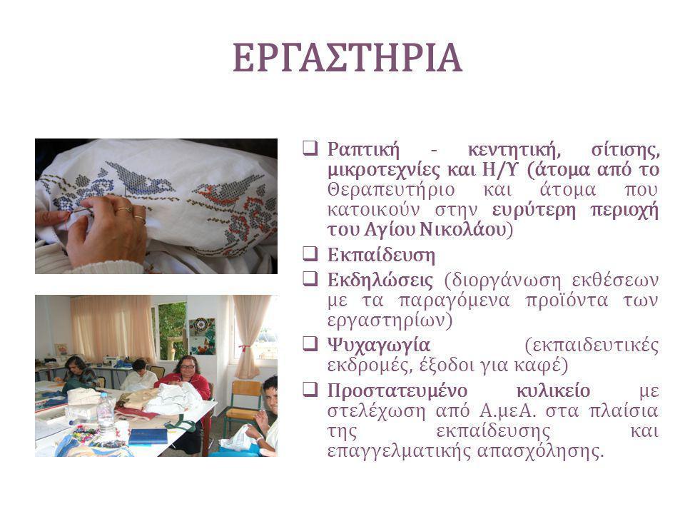 ΕΡΓΑΣΤΗΡΙΑ  Ραπτική - κεντητική, σίτισης, μικροτεχνίες και Η/Υ (άτομα από το Θεραπευτήριο και άτομα που κατοικούν στην ευρύτερη περιοχή του Αγίου Νικ