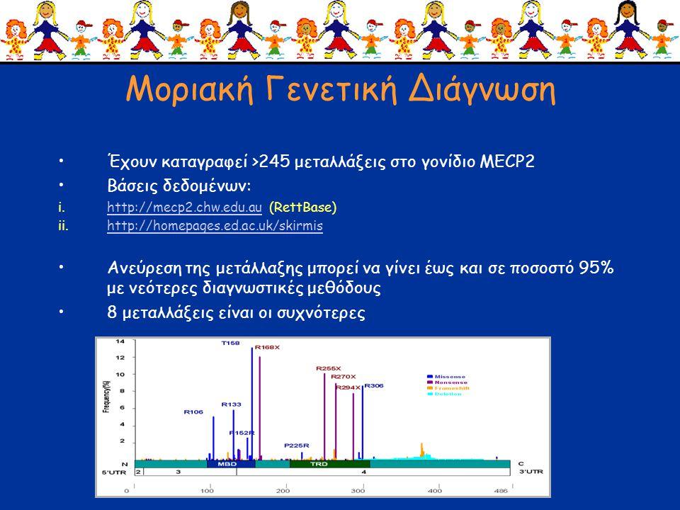 Μοριακή Γενετική Διάγνωση •Έχουν καταγραφεί >245 μεταλλάξεις στο γονίδιο ΜΕCP2 •Βάσεις δεδομένων: i.http://mecp2.chw.edu.au (RettBase)http://mecp2.chw