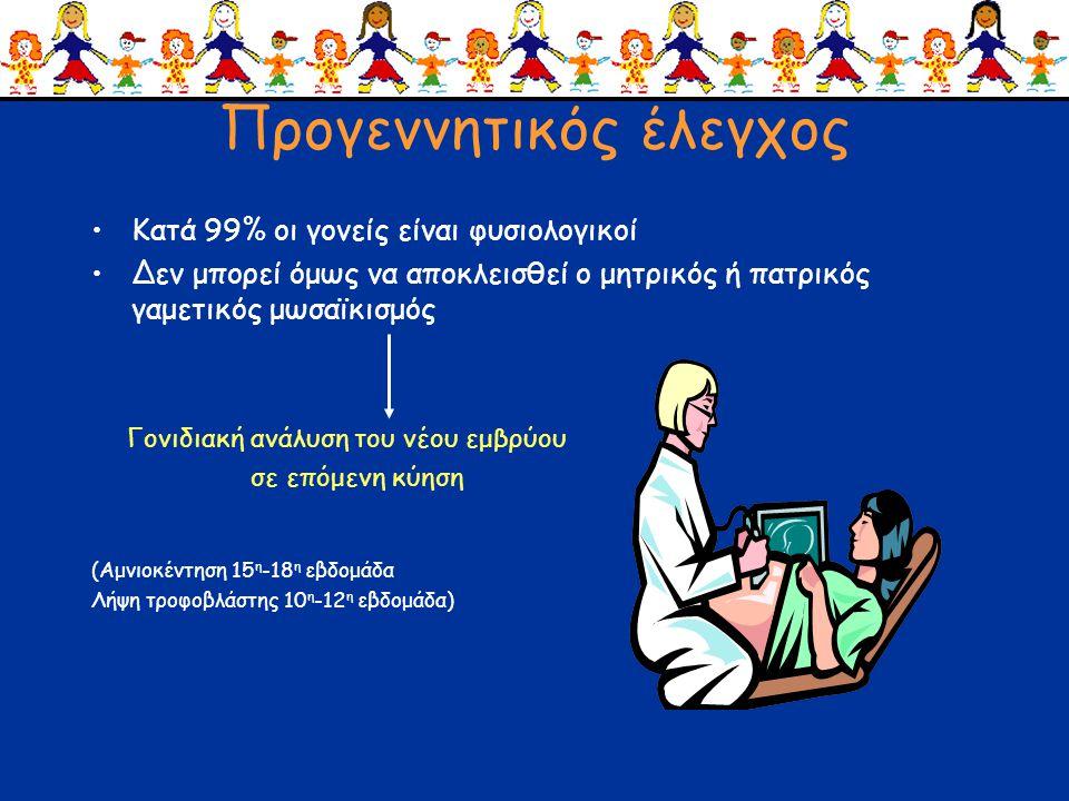Προγεννητικός έλεγχος •Κατά 99% οι γονείς είναι φυσιολογικοί •Δεν μπορεί όμως να αποκλεισθεί ο μητρικός ή πατρικός γαμετικός μωσαϊκισμός Γονιδιακή ανά