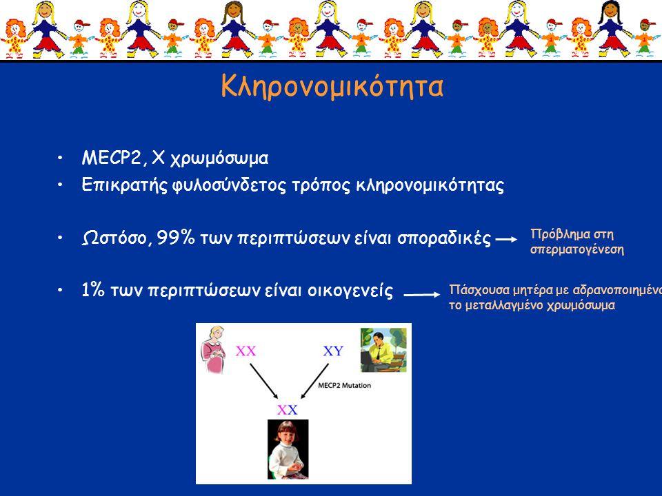 Παθοφυσιολογία •Πρωτεΐνη MECP2: έκφραση κυρίως στον αναπτυσσόμενο εγκέφαλο •Ρυθμιστής της έκφρασης άλλων νευροαναπτυξιακών γονιδίων •Μεγάλο πεδίο έρευνας για το ποιά είναι τα γονίδια-στόχοι •Συναπτογένεση